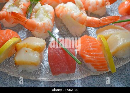 Nigiri sushi au saumon, thon, crevettes et pétoncles Banque D'Images