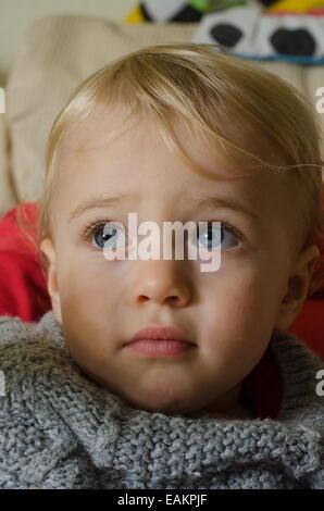 Une blonde aux yeux bleus et baby boy (ca. 18 mois) dans un tricot de cavalier. Banque D'Images