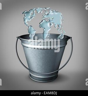 Concept global de l'eau comme un groupe d'éclaboussure gouttes d'eau dans un seau en métal en forme de carte du Banque D'Images