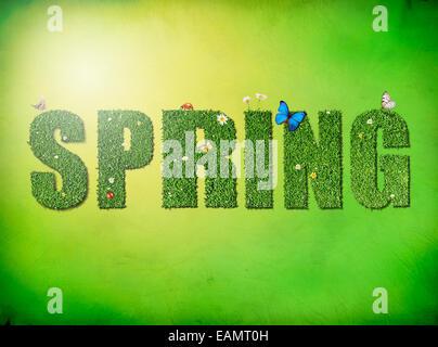 Concept de printemps mot 'Spring' avec des fleurs, papillons et lapin sur fond vert Banque D'Images