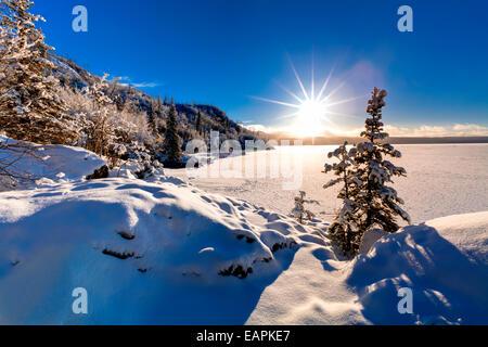 Alaska,Ciel Bleu,Travail,claire,Horizon,Hdr congelé Banque D'Images
