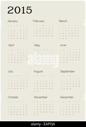 Calendrier 2015 avec une conception simple, vector