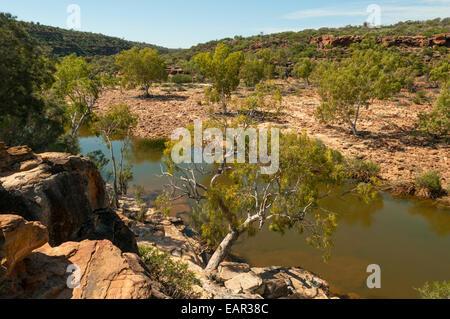 Murchison River ci-dessous Ross Graham Lookout à Kalbarri NP, WA, Australie Banque D'Images