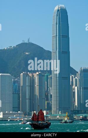 La deuxième tour, International Finance Centre ou 2 SFI et d'autres gratte-ciel du Quartier Central, Hong Kong, Banque D'Images