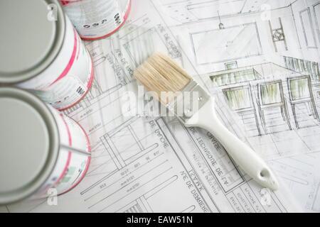 Peinture & Décoration outils et matériaux Banque D'Images