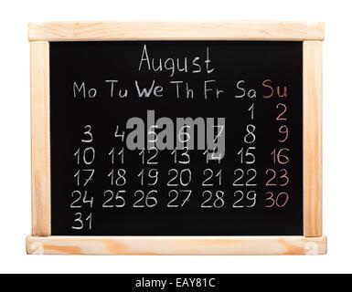 Calendrier de l'année 2015. En août. Semaine commence le lundi