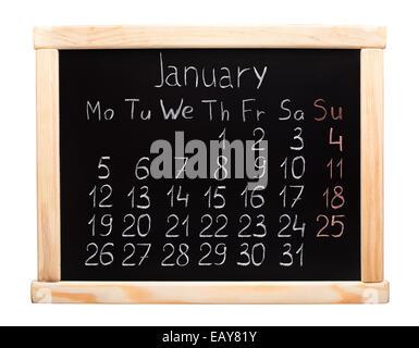 Calendrier de l'année 2015. Janvier. Semaine commence le lundi