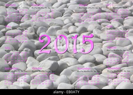Calendrier de l'année européenne 2015 avec pierres gris