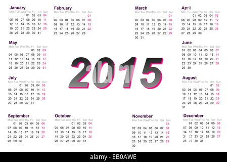 Calendrier de l'année européenne 2015 avec semaine à partir de lundi