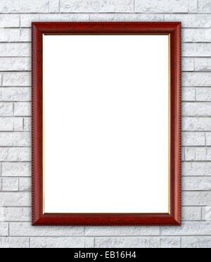 Cadre en bois blanc sur fond brique mur de pierre Banque D'Images