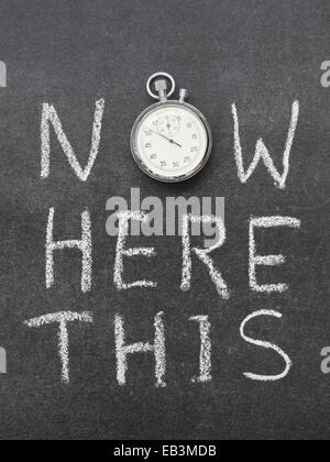 Maintenant ici ce concept à la main sur tableau avec vintage chronomètre précis utilisé au lieu d'O Banque D'Images