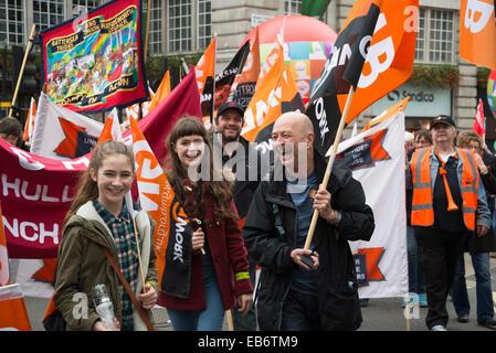La Grande-Bretagne a besoin d'une augmentation de salaire de mars, Londres, 18 octobre 2014, UK Banque D'Images