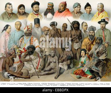 Illustration historique, 19e siècle, les groupes ethniques de l'Asie, Asiatische Völkertypen, historische Mischtechnik, Banque D'Images