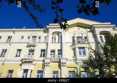 Façade d'un bâtiment dans la ville d'Irkoutsk, en Russie. 1015 Banque D'Images