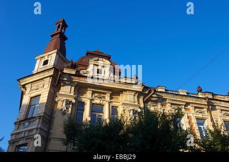 Façade d'un bâtiment dans la ville d'Irkoutsk en Russie. 1015 Banque D'Images