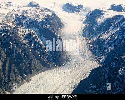 Cette photo de la Glacier Sondrestrom au Groenland a été prise depuis une fenêtre sur la NASA Gulfstream III La Banque D'Images