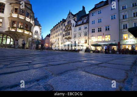 Germany, Bavaria, Munich Platzl, Square, célèbre Brasserie Hofbrauhaus. Banque D'Images