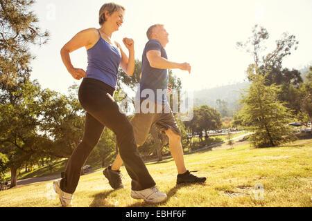 Couple Senior Power walking in park