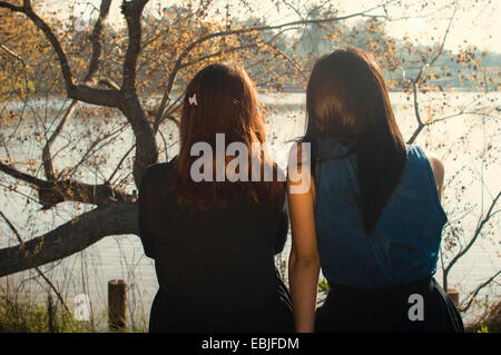 Deux jeunes femmes assises à côté du lac, vue arrière Banque D'Images