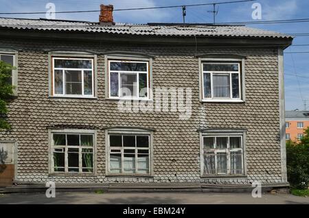 Maison en bois à Irkoutsk, en Sibérie Banque D'Images