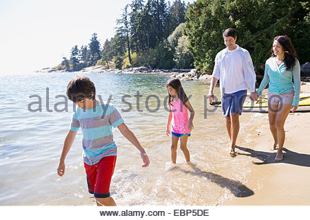 Family walking on sunny beach Banque D'Images