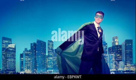 Forte puissance super-héros d'Affaires Concepts Cityscape Banque D'Images