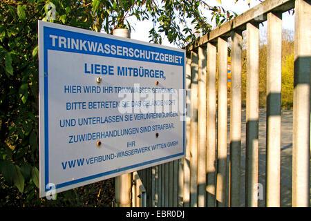 Zone de protection sanitaire et, en Allemagne, en Rhénanie du Nord-Westphalie, Ruhr, Witten Banque D'Images