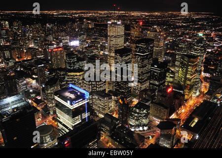 Vue de la ville de Toronto de la Tour CN la nuit, le Canada, l'Ontario, Toronto Banque D'Images
