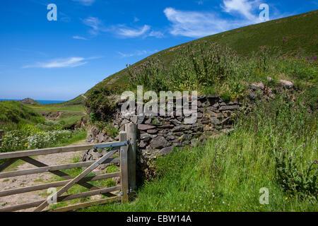 Randonnée le long de la côte nord du Devon Banque D'Images