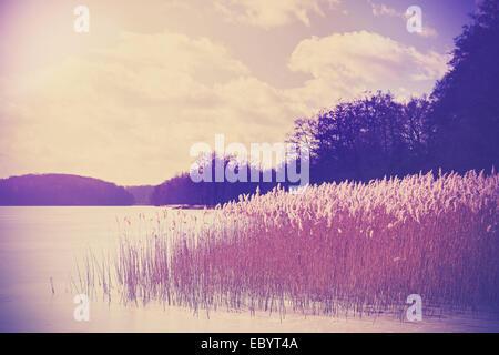 Retro Vintage image aux couleurs du lac en hiver. Banque D'Images
