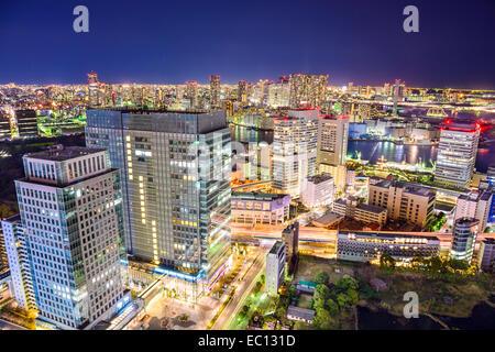 Tokyo, Japon cityscape at night. Banque D'Images