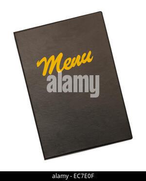 Menu noir avec couvercle Menu or isolé sur fond blanc. Banque D'Images