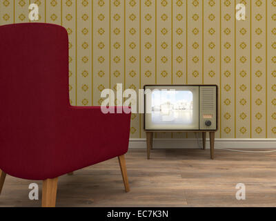 L'ancien téléviseur et fauteuil rouge dans un salon de style rétro Banque D'Images