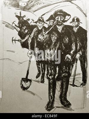 Droit travail travailleurs creusant par l'artiste norvégien Edvard Munch (1863-1944). Cette œuvre a été réalisée Banque D'Images