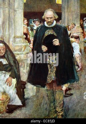 Peinture de William Shakespeare (1564-1616) poète anglais, dramaturge et acteur, marchant à travers Londres. En Banque D'Images