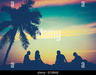 Les amis de la plage à Hawaii Banque D'Images