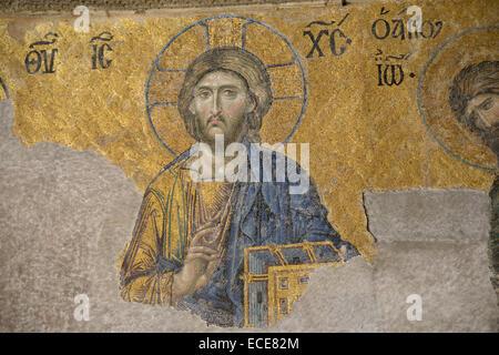 La mosaïque de Jésus le Christ dans la basilique Sainte-Sophie (Istanbul, Turquie). Banque D'Images