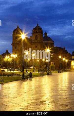 La Compania de Jesus (Compagnie de Jésus) Église sur la Plaza de Armas, Cusco, Pérou Banque D'Images