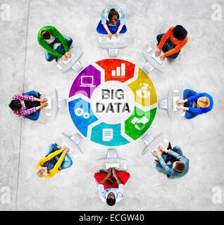 Les gens dans un cercle à l'aide d'ordinateur avec le Big Data Concept Banque D'Images