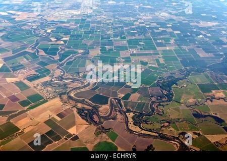 Vue aérienne des terres agricoles dans le Colorado, USA Banque D'Images