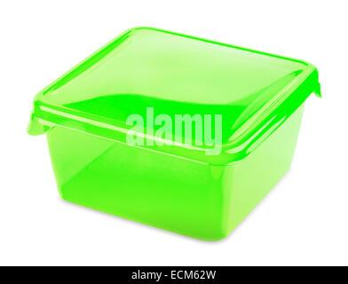 Conteneur alimentaire vert sur fond blanc Banque D'Images