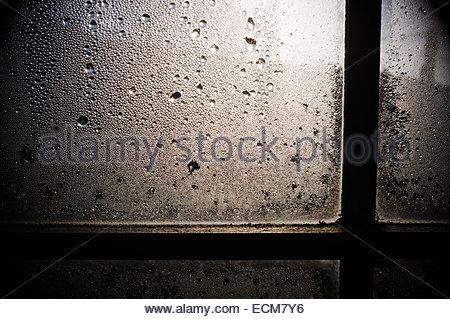 Soleil, la condensation sur la fenêtre de l'intérieur d'un chalet en hiver, au Royaume-Uni. Banque D'Images