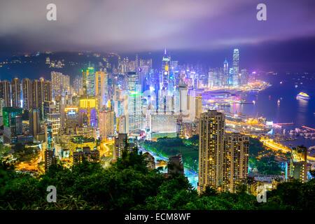 Hong Kong, Chine city skyline at night. Banque D'Images