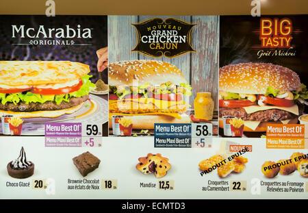 Marrakech Maroc McDonalds McArabia sandwich sur le centre-ville de menu Banque D'Images