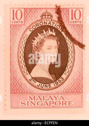 Timbre ancien de Singapour Malaisie