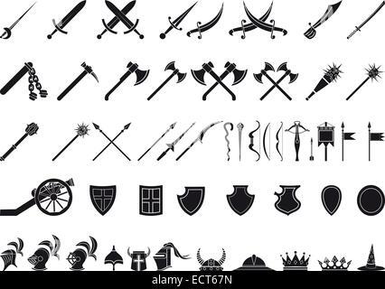 Large gamme d'armes médiévales et les articles isolated on white Banque D'Images