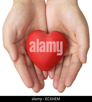 L'assurance-santé ou d'amour, coeur en mains concept Banque D'Images