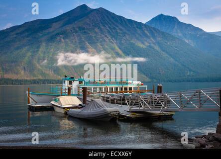 Lac McDonald est le plus grand lac de Glacier National Park, Montana Banque D'Images