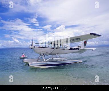 Turtle Airways avion sur flottes, Beachcomber Island Resort, Beachcomber Island, Yasawa Islands, Viti Levu, République Banque D'Images