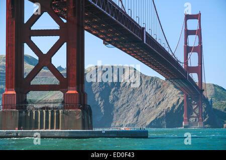 États-unis, Californie, San Francisco, Low angle view of Golden Gate Bridge Banque D'Images